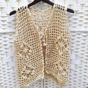 Vintage 60's Crochet Vest Cotton Fits 8-14